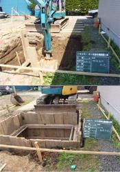 機械掘削〜木矢板設置