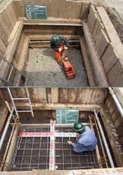 砂利基礎工転圧〜ベースコンクリート配筋検寸